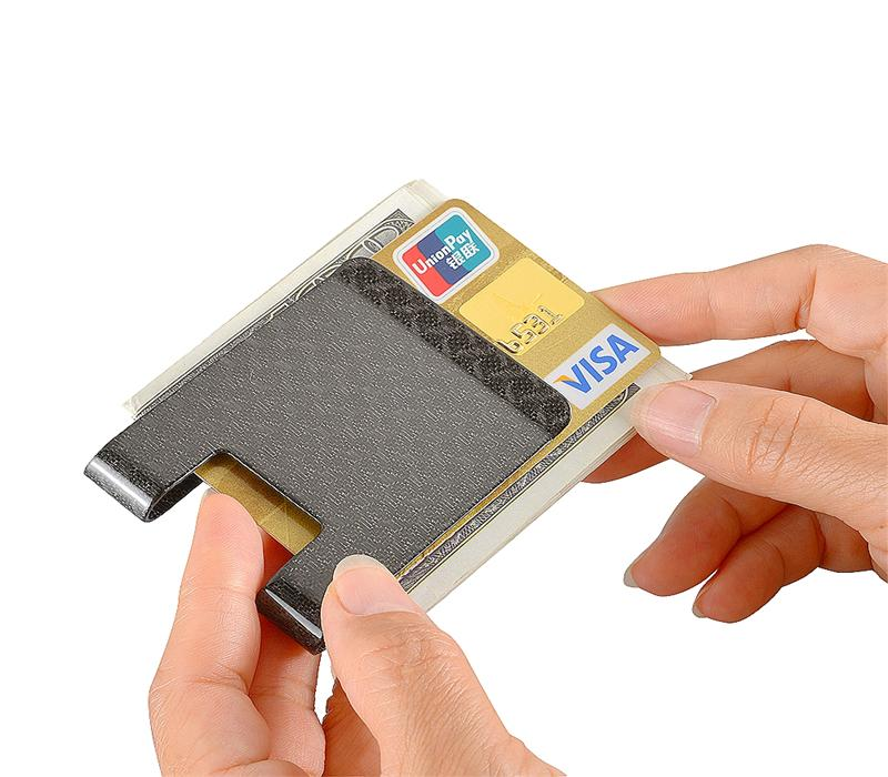 Carbon fiber money clip L Glossy