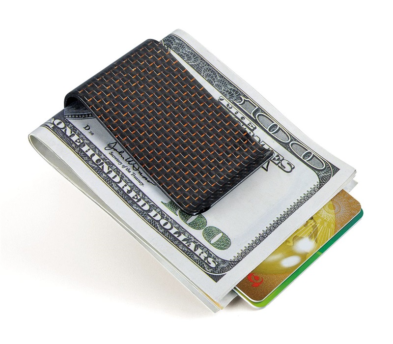 carbon fiber money clip glossy red - L