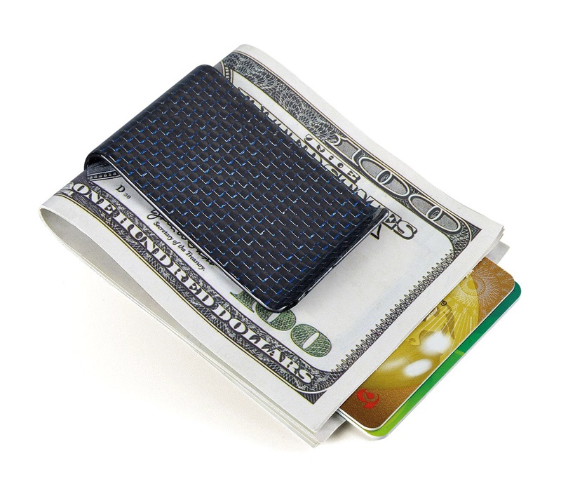 carbon fiber money clip glossy blue- L