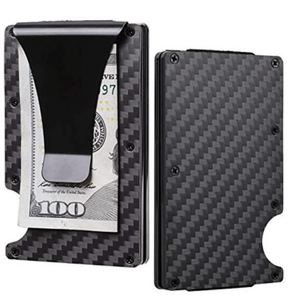 Aluminum The Minimalist Wallet-Money Clip Slim.Credit Card Holder RFID Blocking